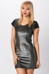 Faux Leather Sleeve Bodycon Dress
