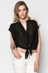 Lace Trim Back Sheer Blouse
