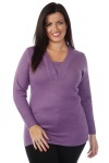 Ribbed V-Neck & Cuffs Jumper
