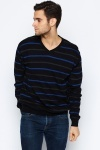 V-Neck Striped Pullover