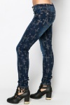 Cross Print Denim Trousers