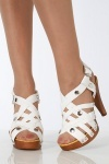 Studded Crossed Straps Stacked Sandals