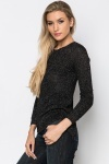 Open Lace Back Glitter Pullover