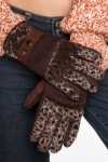 Faux Leopard Fur Knitted Gloves