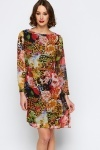 Floral Leopard Belted Shift Dress