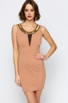 Gold Embellished Neckline Mesh Insert Dress