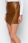 Zip Front Faux Leather Skirt