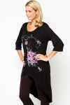 Graphic Floral Dipped Hem Tunic