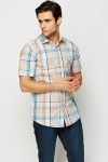 Short Sleeve Grid Check Shirt