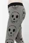 Check Pattern Skull Leggings