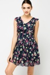 Frill Shoulder Fleur Tea Dress