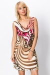 Crochet Back Swirl & Animal Print Dress