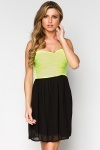 Two Tone Pleat Bandeau Dress