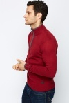 Rib Trim Zip Neck Jumper