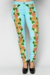 Encrusted Tropical Print Trousers