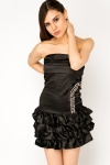 Encrusted Frill Bandeau Dress