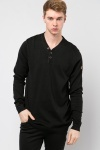 Button Neck Collar Pullover