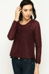 Crochet Knit Dipped Hem Pullover