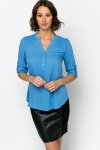 Ruched Shoulder Chiffon Blouse