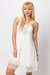 Embellished Neckline & Lace Hem Dress