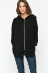Oversized Zip Front Hooded Jacket