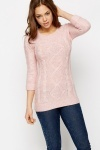Roll-Up Sleeve Cable Knit Jumper