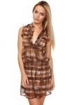 Abstract Checks Chiffon Dress