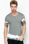 Contrast Distressed Trim T-Shirt
