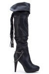Chain Trim & Tassel Over The Knee High Boots