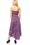 Bright Floral Pattern Dip Hem Maxi Dress