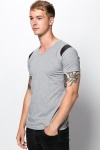 Contrast Faux Leather Shoulder T-Shirt