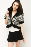 Lace Trim Leopard Print Faux Fur Jacket