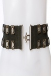 Faux Leather Studs Elastic Belt