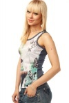 Butterflies Print Sequined Layer T-Shirt