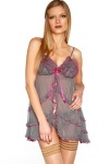 Frilled Open Front Chemise & Thong Set
