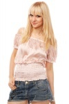 Fringed Off Shoulder Satin Top