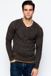 Contrast Trim Speckled V-Neck Sweater
