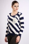 Embroidered Pocket Stripe Pullover