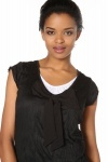 Creased Leisure Top With White Trim & Bow