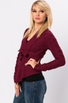 Cropped Cable Knit Waterfall Cardigan