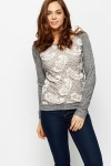 Contrast Paisley Knit Top