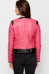 Contrast Trim Quilted PU Jacket