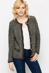 Contrast Trim Fluffy Knit Cardigan