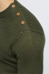 Buttoned Shoulder Mix Knit Jumper