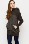 Faux Fur Trim Padded Knit Jacket
