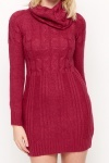 Roll Neck Mix Knit Jumper Dress
