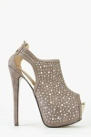 Diamante Suedette Open Toe Stiletto Heels