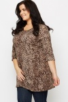 Sequin Leopard Print Brown Tunic