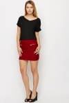Woven Zip Detail Mini Skirt