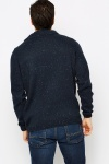 Cowl Neck Knitted Navy Pullover